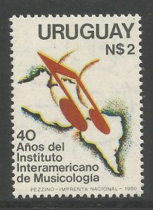 URUGUAY  1101  MNH,  INTER-AMERICAN INST OF MUSICOLOGY, 40TH ANNIV