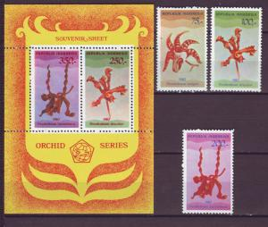 Z508 Jlstamps 1980 indonesia mh set + s/s #1107-10 orchids flowers