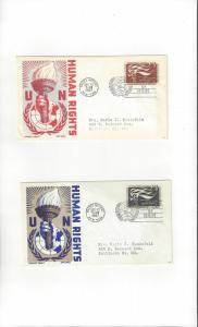 United Nations 57-8  Human Rights  Cachet Craft Ken Boll FDC
