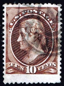 US STAMP #209b – 1882 10c Jefferson, black brown USED XFS JUMBO $375