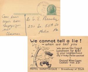United States New Jersey Petersburg 1934 4c-bar  1893-1959  Postal Card  Reve...