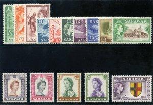 Sarawak 1955 QEII set complete MLH. SG 188-202. Sc 197-211.