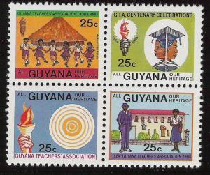 Guyana- Scott 825a Teachers Association, Heritage- Block of 4 MNH (822-825) 1984