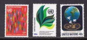 UN - New York, # 368-370, Definitives, Mint LH, 1/3 Cat