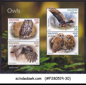 MALDIVES - 2019 OWLS / BIRDS - MINIATURE SHEET MNH