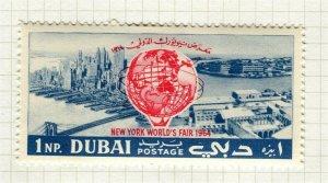 DUBAI; 1964 early NY World Trade Fair issue Mint hinged 1np. value