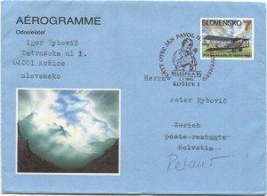 SLOVAKIA 1993 1st Issue 7sk Aerogramme + 1995 Pope Visit to Košice cancel