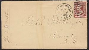 USA 1885 cover 2c Washington FITCHBURGH duplex cancel.......................6769