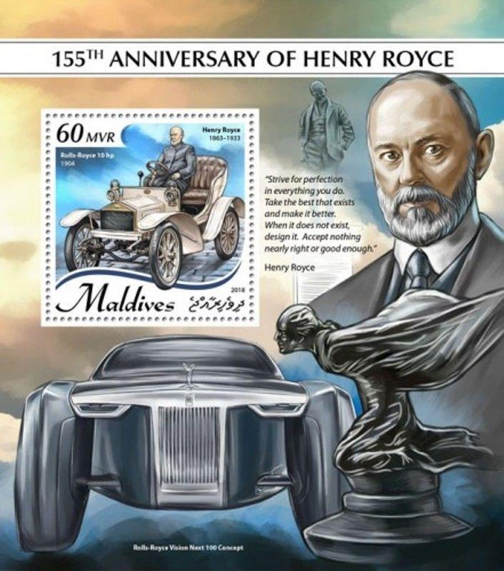 Maldives - 2018 Henry Royce Cars - Stamp Souvenir Sheet - MLD18907b