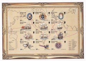 BRITISH VIRGIN ISLANDS # 876 VF-MNH WORLD VOYAGE OF DRAKE S/SHEET OF 12 PO FRESH