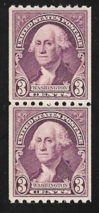 722 3 cents Washington, Coil pair Stamp mint OG NH EGRADED VF-XF 85