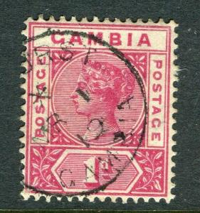 GAMBIA; 1898 early QV issue fine used 1d. value, fair Postmark