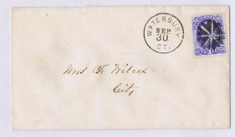 SCOTT# 145 1c ON COVER, CIRCLE OF HEARTS FANCY CANCEL, WATERBURY CT SEP 30 PMK