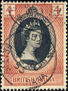BRITISH GUIANA - 1953 -  BUXTON  Single Circle DS on SG330 4c Coronation