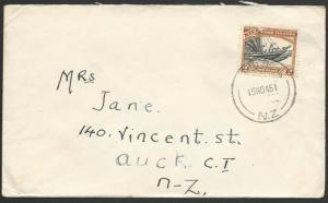 NIUE 1945 comercial cover to NZ - 2d single franking.......................51659