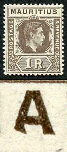 Mauritius SG260a 1r grey-brown BATTERED A Variety M/M (toned gum) SCARCE