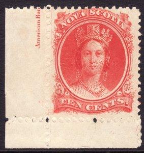 1860-63 Canada Nova Scotia Queen Victoria QV 10¢ MMH Sc# 12 CV $15.00