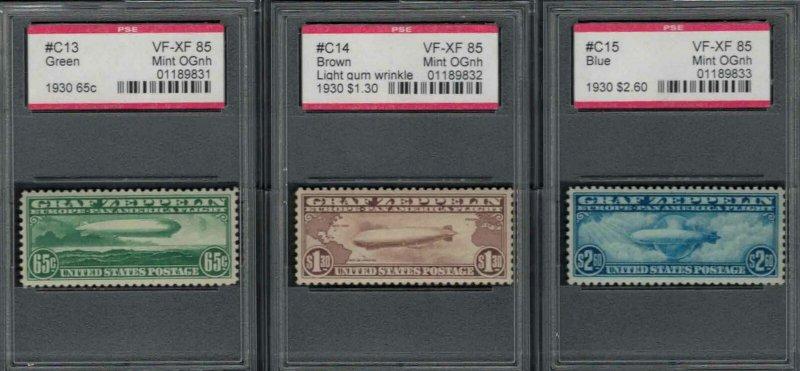 MALACK C13 - C15 VF/XF OG NH, w/PSE (GRADED 85) ENCA..MORE.. g8389