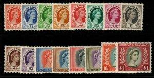 RHODESIA & NYASALAND SG1/15 1954-6 DEFINITIVE SET MTD MINT