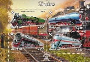 Malawi 2012 M/S Steam Locomotives Trains Rail Transport Railway Stamps MNH (7)