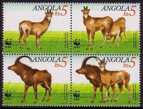 Angola WWF Giant Sable Antelope 4v in block 2*2 SG#926-929 SC#781-784 MI#799-802