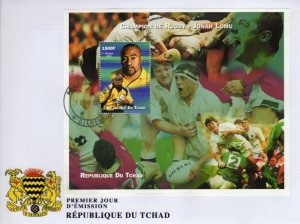 Chad 2002 RUGBY JONAH LOMU s/s Perforated in FDC VF