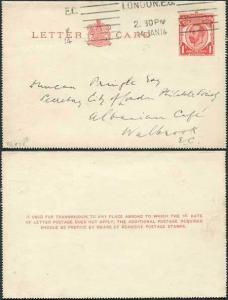 LCP6 KGV 1d Carmine Letter Card with 3 line instructions Used