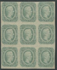 CSA Scott #12c (AD) Mint OG LH Block of 9 Confederate Stamps VF w/ CSA Cert