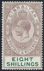 GIBRALTAR 1921 KGV 8/- WMK MULTI CROWN CA