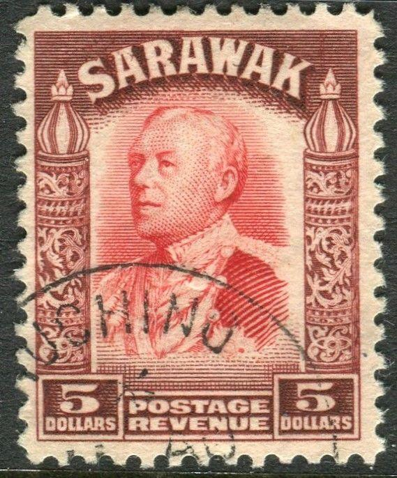 SARAWAK-1934-41 $5 Scarlet & Red Brown.  A fine used example Sg 124