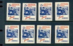 8 VINTAGE 1944 AMERICAN EDUCATION WEEK VISIT YOUR SCHOOLS POSTER STAMPS (L571)
