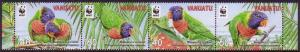 Vanuatu Birds WWF Rainbow Lorikeet strip of 4v SG#1094-1097 MI#1443-1446 SC#1007