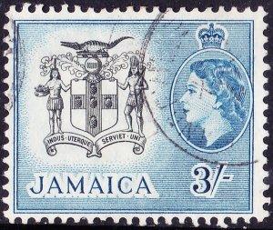 JAMAICA 1956 QEII 3/- Black & Blue SG171 FU