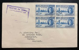 1951 Tristan Da Cunha King George Peace Issue Stamp Cover To Yorks England