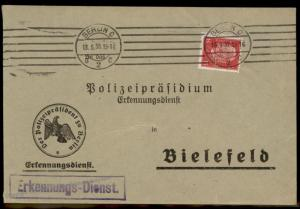 Germany Berlin Polizei POL Lochung Police Perfin Official Cover 60018