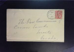 Canada 1903 Fort William Ontario Cover to Toronto - Z1371