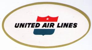 UNITED AIR LINES 1960 SUPERB OLD OVAL LUGGAGE LABEL, CAT # USU-77 (AC20)