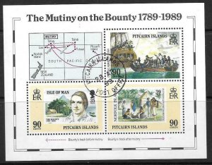 PITCAIRN ISLANDS SGMS347 1989 MUTINY ON THE BOUNTY FINE USED
