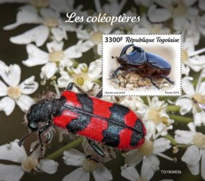 Togo Stamps 2019.- Beetles. Blok. Imperf.