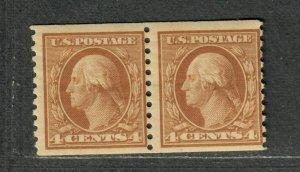 US Sc#495 M/NH/F, Coil Pair Pencil On Back, Cv. $50