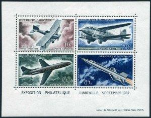 Gabon C10a,hinged.Mi Bl.1. PHILEXPO-1962.Development of Air Transport.Breguet 14