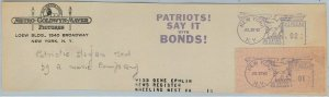 big047 - USA - POSTAL HISTORY -  Machine postmak on cutout MGM Patriotic slogan