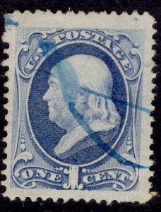 US Stamp #182 1c Ultramarine Franklin USED SCV $6