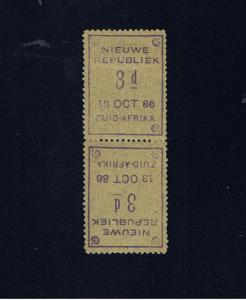 NEW REPUBLIC 1886 3d BLUE GRANITE PAPER TETE-BECHE PAIR