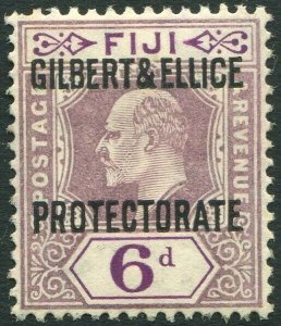 GILBERT & ELLICE ISLANDS-1911 6d Dull & Bright Purple Sg 6 MOUNTED MINT V34656