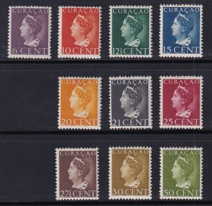 Netherlands Antilles  #174-183   Curacao 1947  MH  Wilhelmina lower values