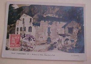 SPAIN  ANDORRA FDC 1954 MAXI CARD