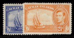 CAYMAN ISLANDS GVI SG120 + 120a, 2½d COLOUR VARIETIES, M MINT.