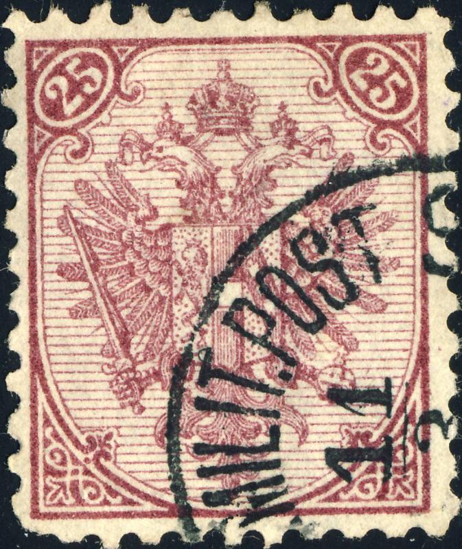 BOSNIE / BOSNIA / BOSNIEN 1879 Mi.7.I 25Kr violet (litho. pl.I) p.10-1/2 used