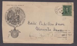 **US 20th Cent Cover SC# 300 Scarce Mass 1908 Soc Prev of Cruelty to Animals